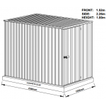 Absco Colorbond Skillion Garden Shed Small Garden Shed  1.52m x 2.26m x 1.80m 15231FK